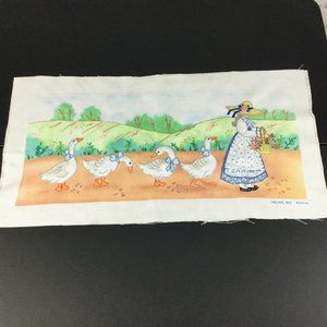Vintage Golden Bee Stitchery Girl Geese Finished